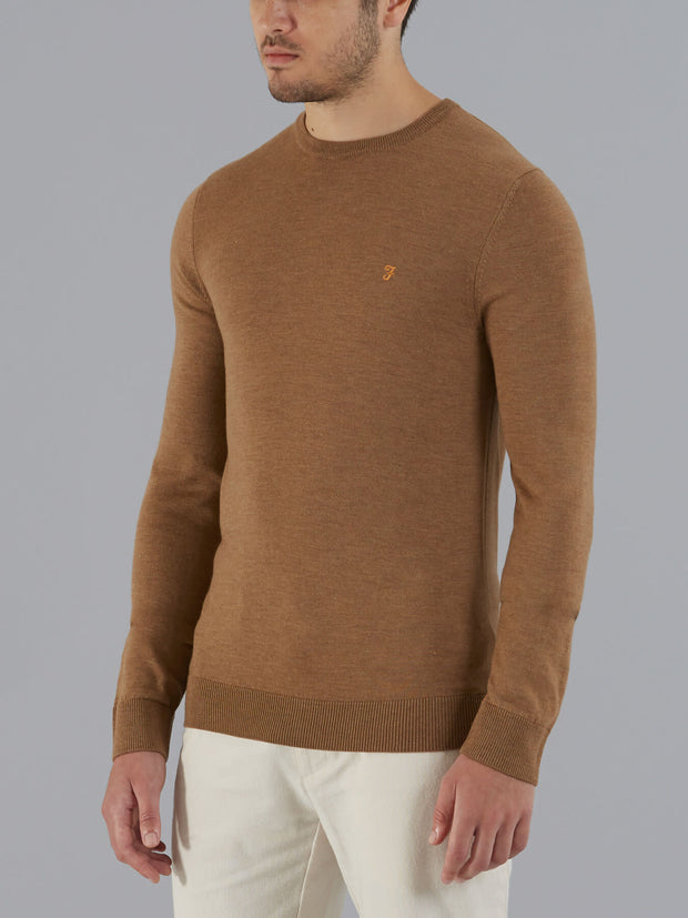 MULLEN MERINO WOOL CREW NECK JUMPER IN CAMEL