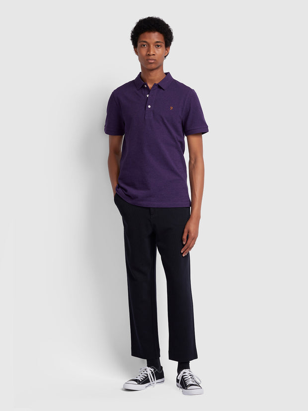 Blanes Slim Fit Polo Shirt In Bright Purple Marl