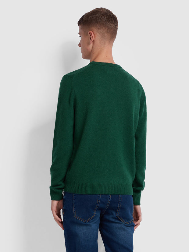 Rosecroft Lambswool Crew Neck Jumper In Bright Emerald