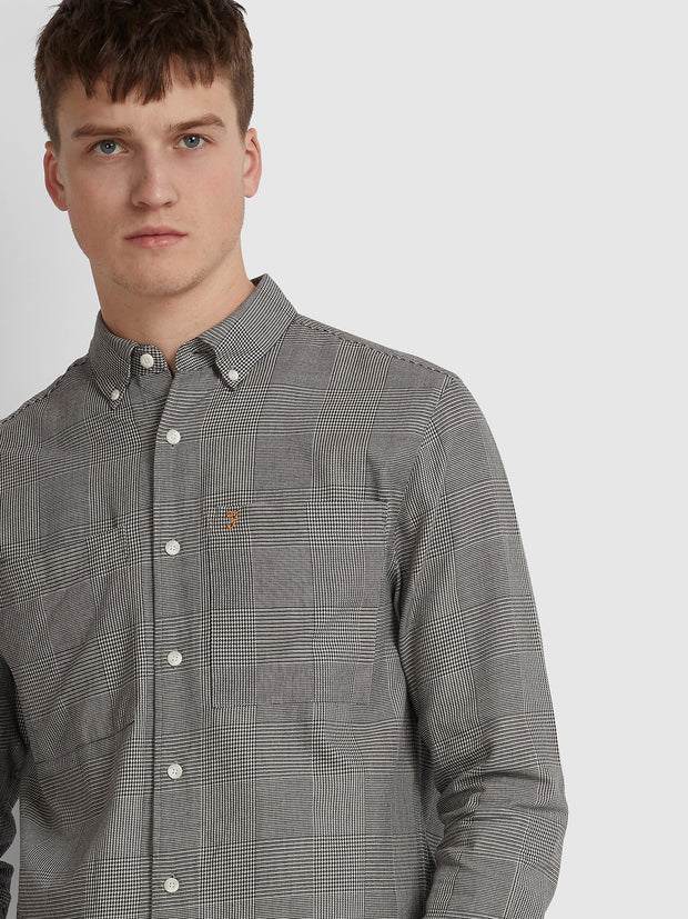 CHARLES CASUAL FIT PRINCE OF WALES CHECK OVERSHIRT IN DEEP BLACK