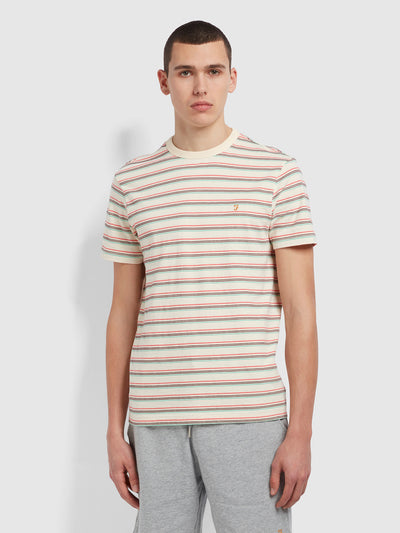 Canyon Slim Fit Striped Organic Cotton T-Shirt In Cream