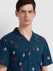 Hutchins Casual Fit Short Sleeve Diamond Print Shirt In Farah Teal