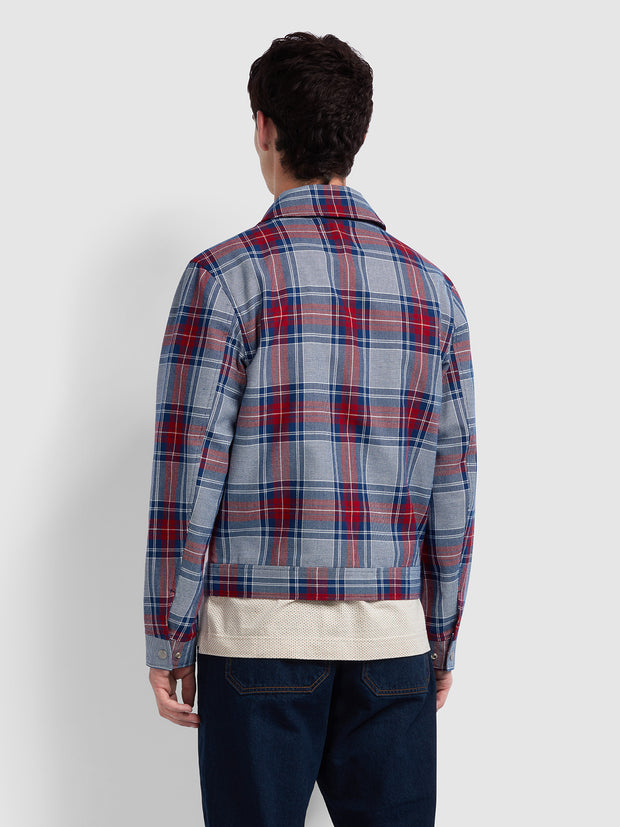 WILCOX CHECK TRUCKER JACKET IN RED CHILLI