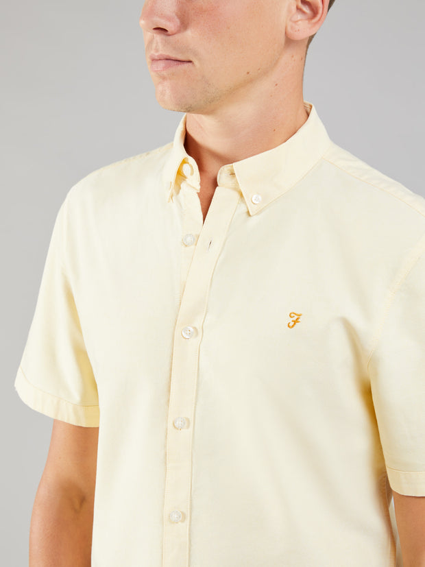 Brewer Slim Fit Short Sleeve Oxford Shirt In Acid Yellow