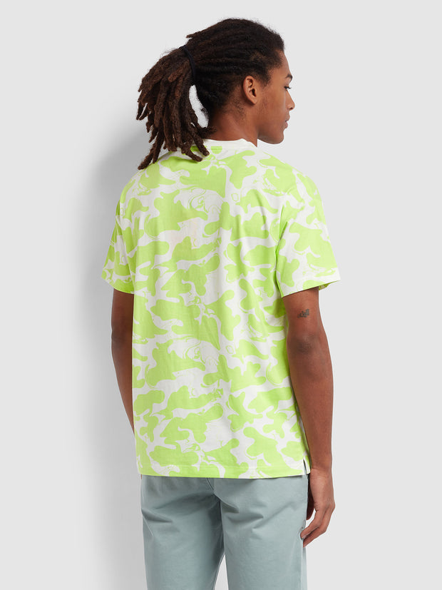 Peace Casual Fit Camo Print T-Shirt In Acid Green