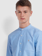 BREWER SLIM FIT GRANDAD OXFORD SHIRT IN MID BLUE