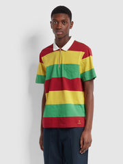 Farah X YMC Lubbock Striped Polo Shirt In Chilli Pepper