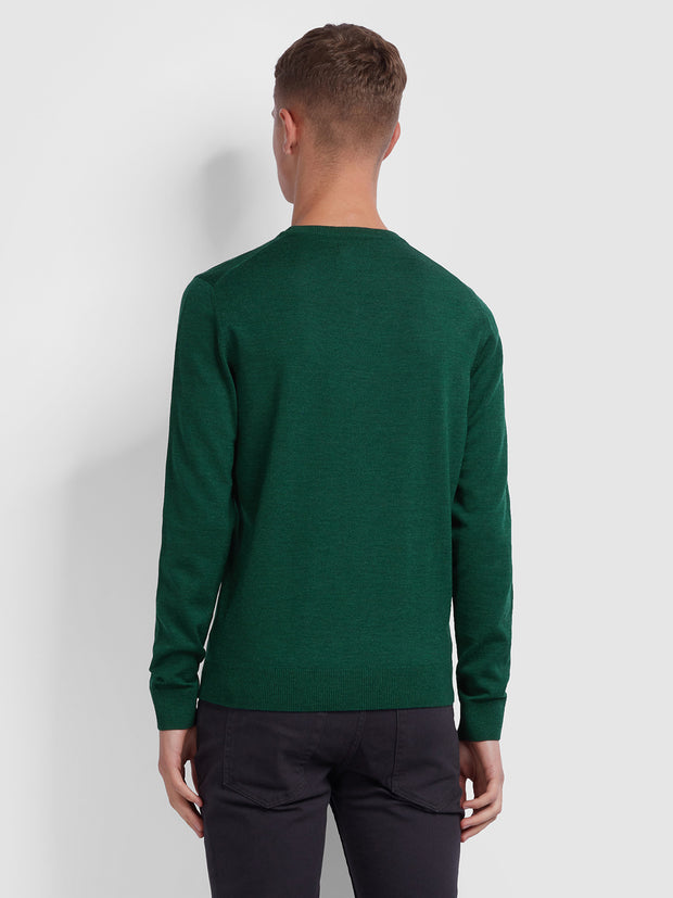 Mullen Merino Wool Crew Neck Jumper In Bright Emerald Marl