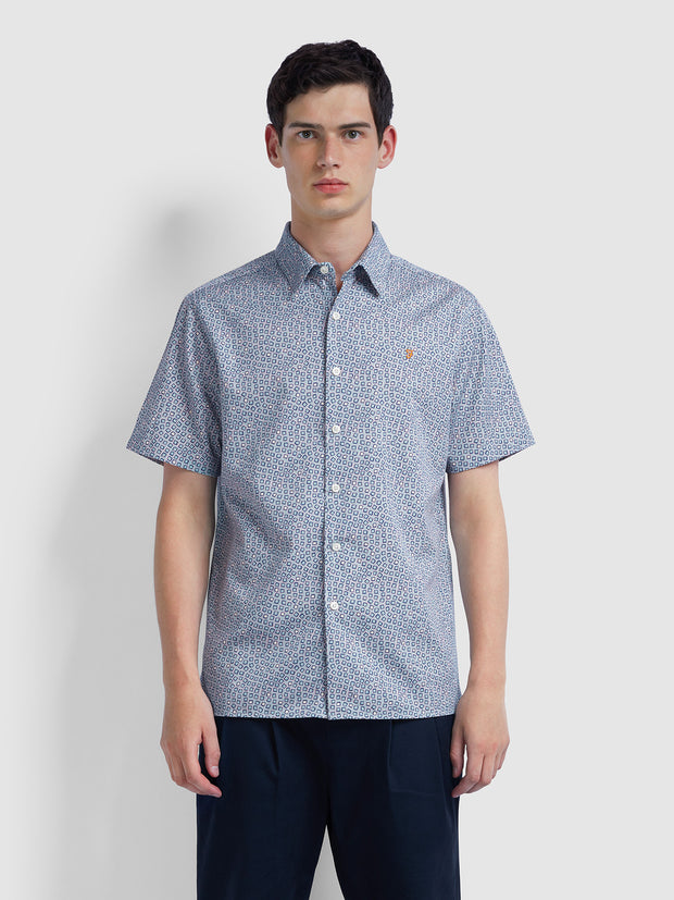 Brooks Casual Fit Short Sleeve Printed Shirt In Green Mist