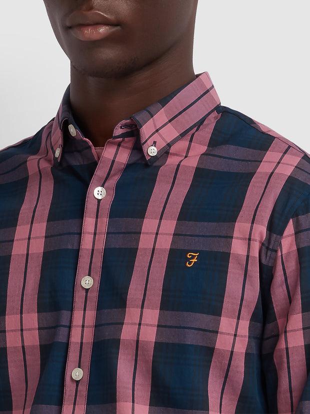 Brewer Slim Fit Tartan Oxford Shirt In Dusty Rose