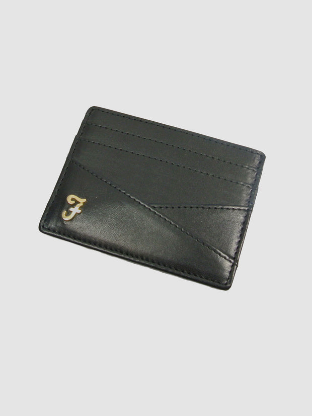 Johnson Smooth Leather Card Holder In Deep Black