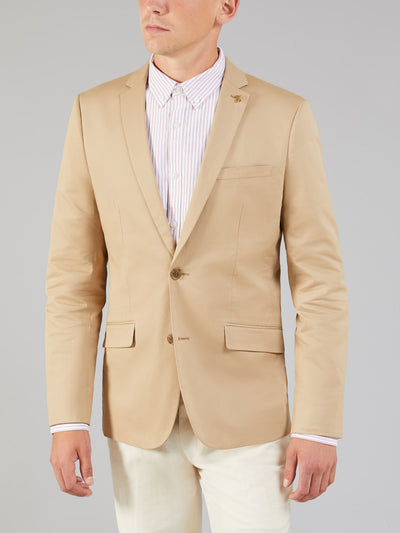 HARTWITH TWILL BLAZER IN LIGHT SAND