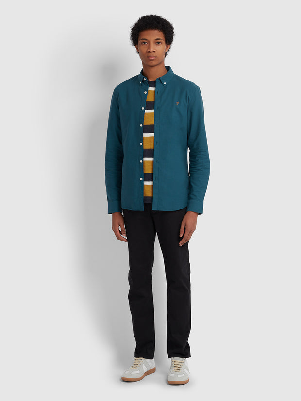 Brewer Slim Fit Oxford Shirt In Teal