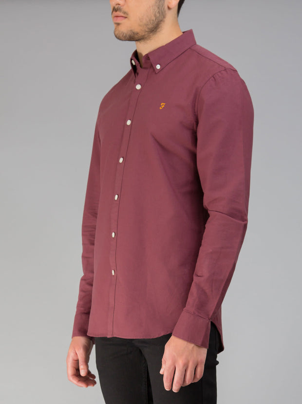 BREWER SLIM FIT OXFORD SHIRT IN FARAH RED