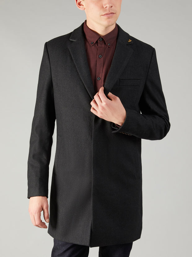 Portobello Wool Blend Overcoat In Grey Marl