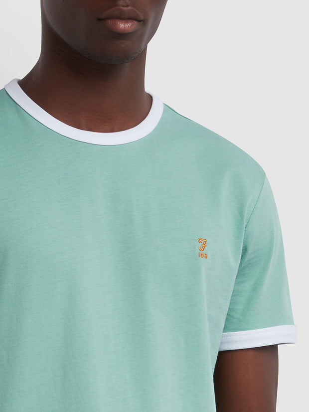 GROVES 100 SLIM FIT RINGER T-SHIRT IN JADE GREEN