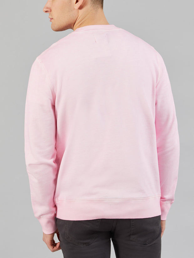 ASHLEY COTTON SNOW WASH CREW NECK SWEATSHIRT IN PINK HAZE