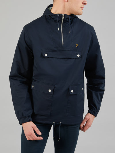 HARTNOLL OVERHEAD HOODED JACKET IN TRUE NAVY