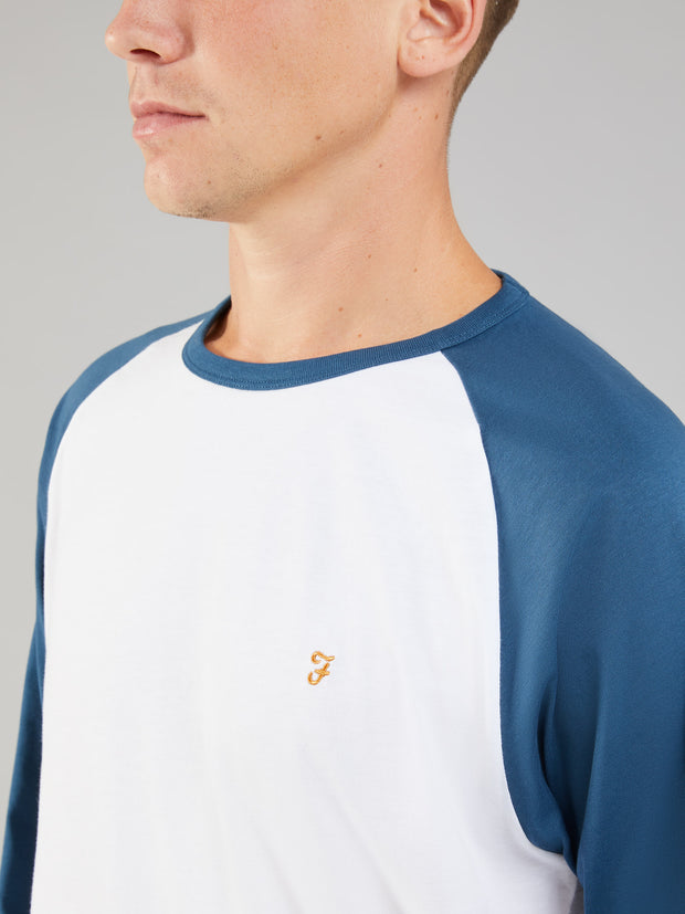 ZEMLAK SLIM FIT RAGLAN LONG SLEEVE T-SHIRT IN BLUE STAR