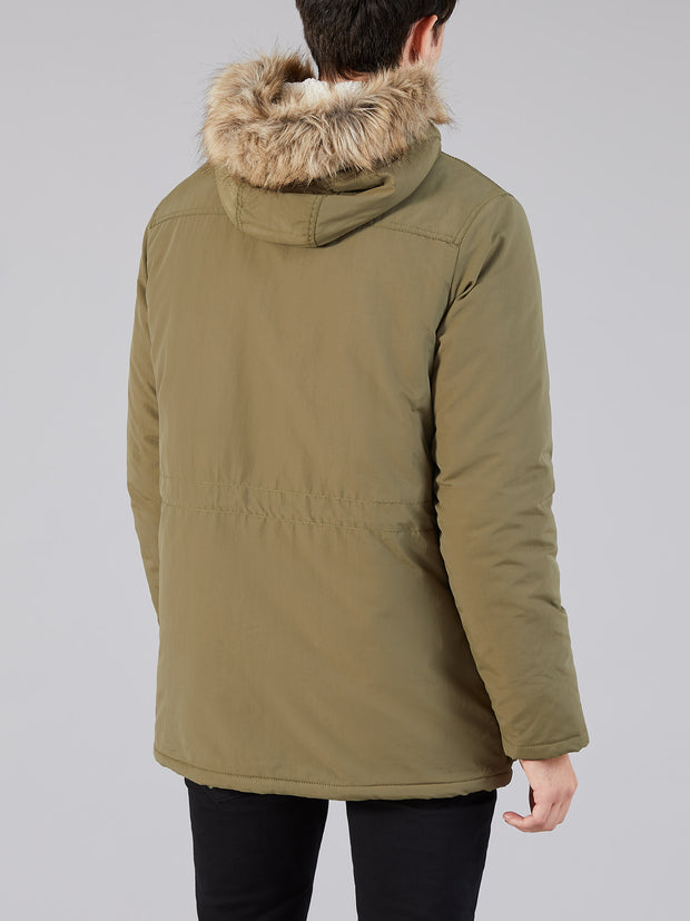 BEATTIE FAUX FUR HOODED PARKA IN VINTAGE GREEN