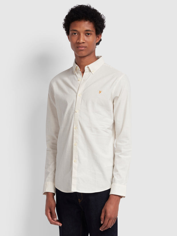 Steen Slim Fit Brushed Cotton Oxford Shirt In Ecru