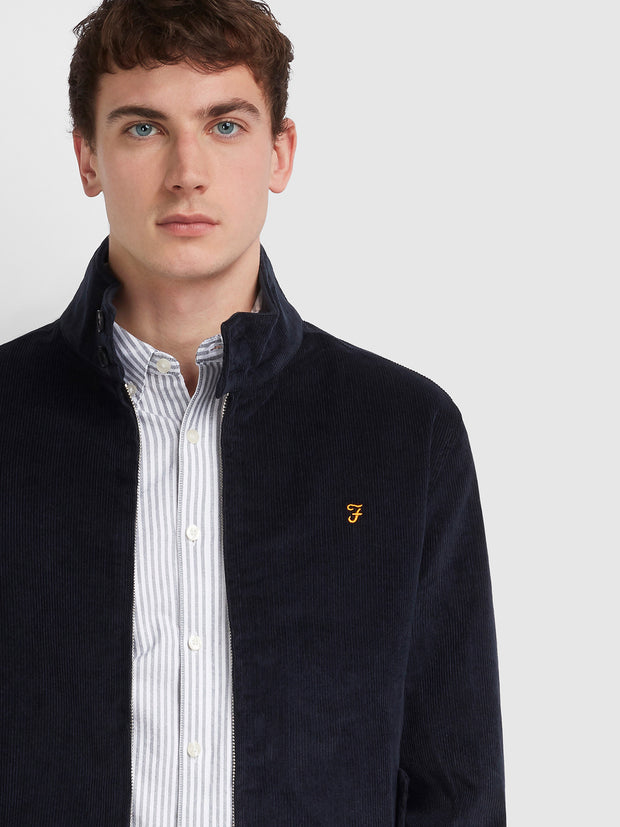 BOWIE CORDUROY HARRINGTON JACKET IN TRUE NAVY