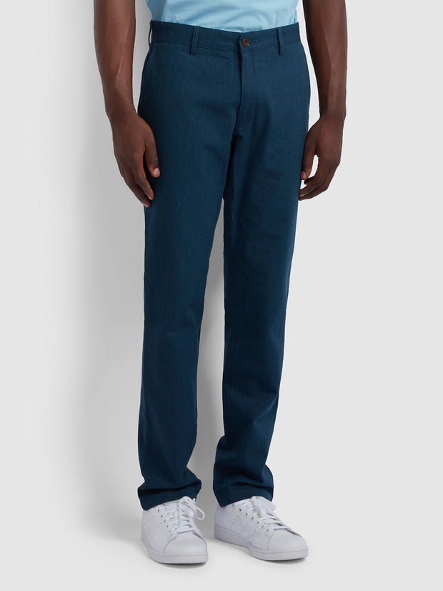 ELM REGULAR FIT COTTON HOPSACK TROUSERS IN FARAH TEAL