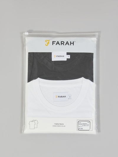 DENNY SLIM FIT TWIN PACK T-SHIRT IN WHITE/BLACK