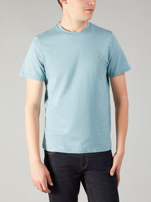 DENNY SLIM FIT MARL T-SHIRT IN OCEAN MARL