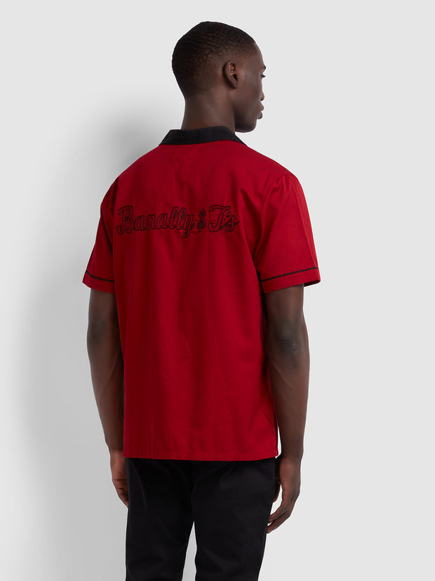 MENARD CASUAL FIT SHORT SLEEVE SHIRT IN RED CHILLI