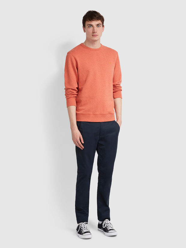 Tim Cotton Crew Neck Sweatshirt In Orange Marl