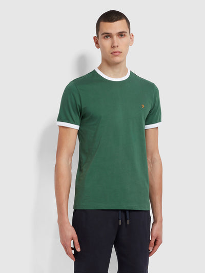 Groves Slim Fit Organic Cotton Ringer T-Shirt In Cedar Green
