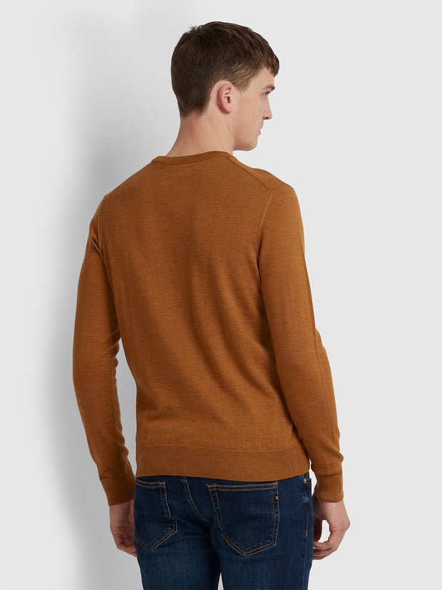 MULLEN MERINO WOOL CREW NECK JUMPER IN GOLD MARL