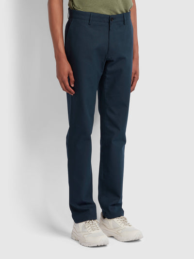 ELM REGULAR FIT COTTON HOPSACK TROUSERS IN TRUE NAVY