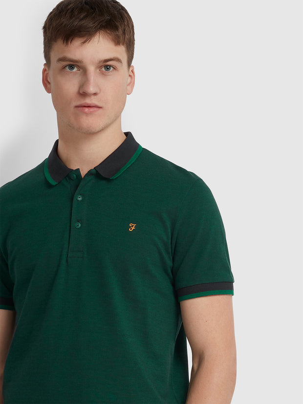 BASEL SLIM FIT TIPPED POLO SHIRT IN GRASS