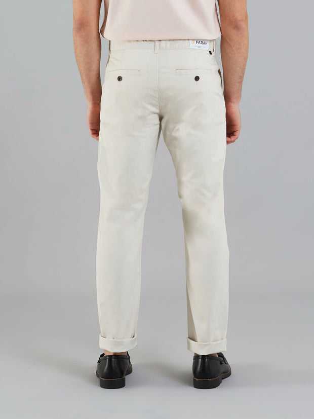 ELM REGULAR FIT TWILL CHINOS IN PEBBLE