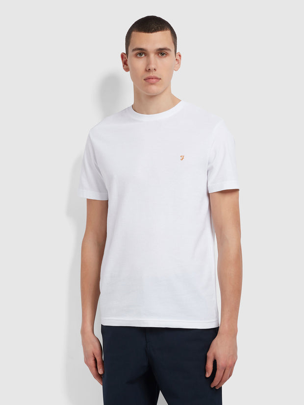Longbow Slim Fit Textured Organic Cotton T-Shirt In White