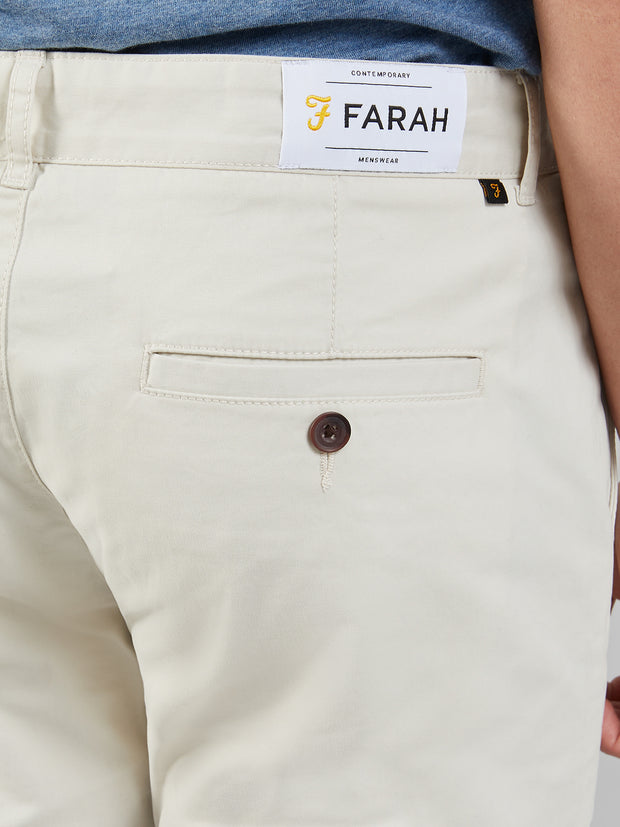 DRAKE SLIM FIT TWILL CHINOS IN PEBBLE