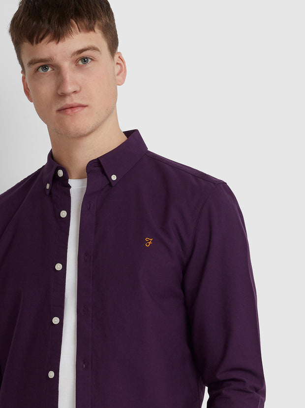 BREWER SLIM FIT OXFORD SHIRT IN BRIGHT PURPLE