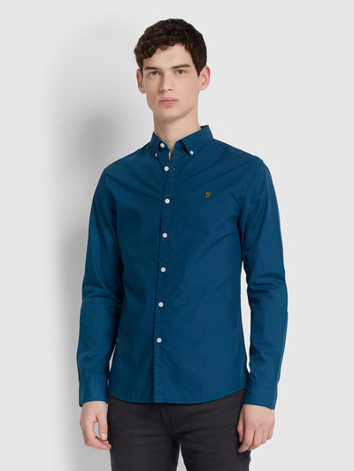 FARLEY SLIM FIT POPLIN SHIRT IN BRIGHT PETROL