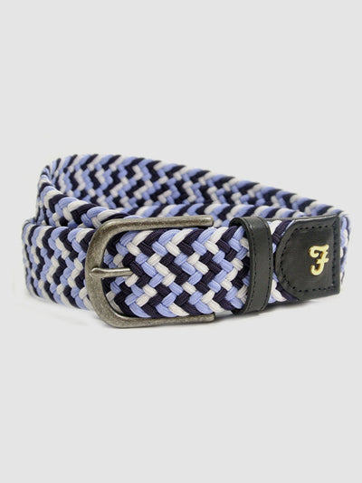 Woven Elastic Leather Belt In Bobby Blue