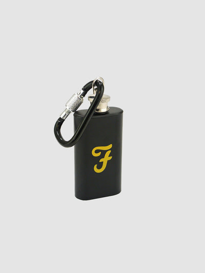 2oz Mini Hip Flask With Carabina Clip In Deep Black