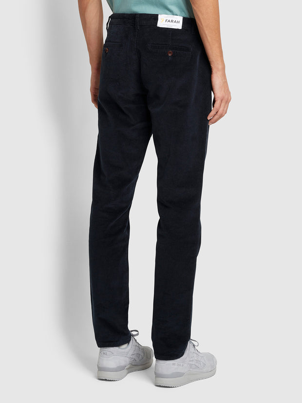 Elm Regular Fit Cord Trousers In True Navy