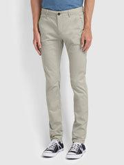 Drake Slim Fit Twill Chinos In White Smoke