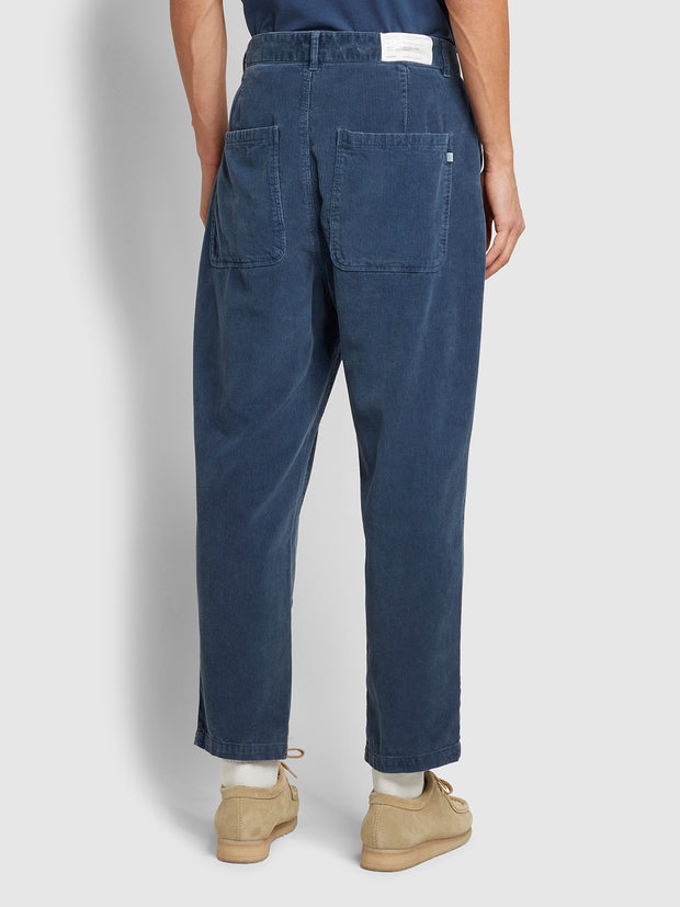 Hawtin Relaxed Fit Cropped Cord Trousers In Deep Blue