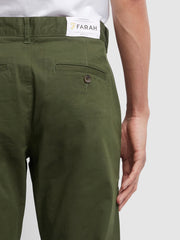 ELM REGULAR FIT TWILL CHINOS IN FARAH GREEN