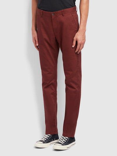 Elm Regular Fit Twill Chinos In Farah Burgundy
