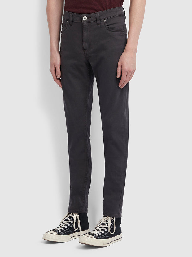 Drake Slim Fit Cotton Twill Trousers In Charcoal