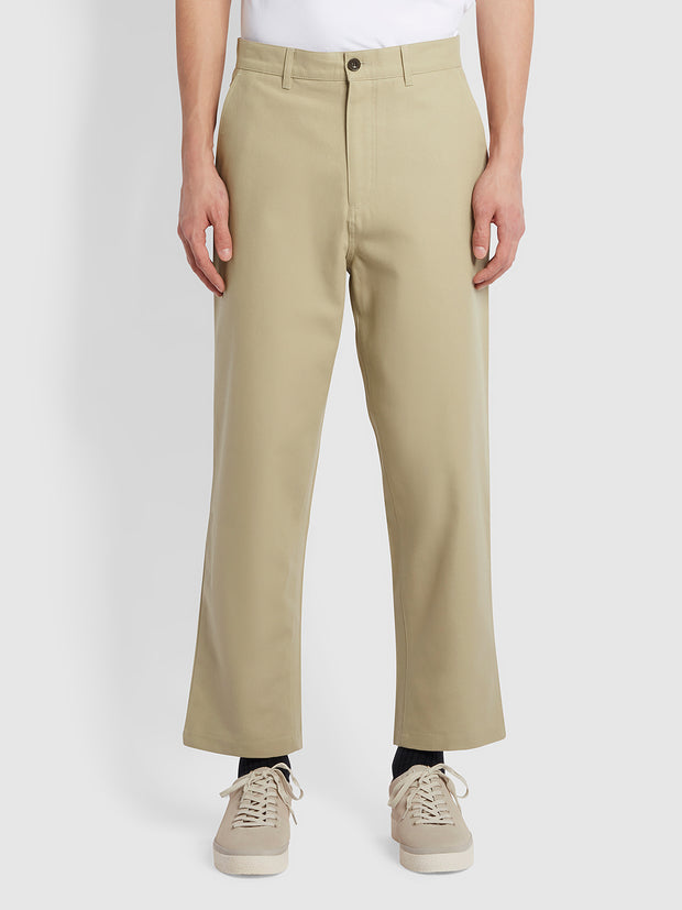 Hawtin Relaxed Fit Hopsack Cropped Trousers In Sandstone