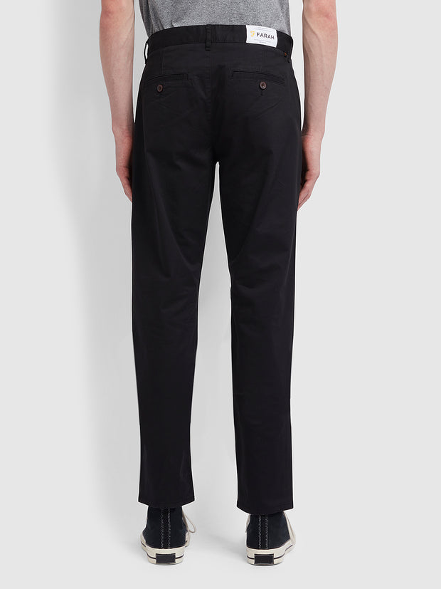 Elm Regular Fit Cotton Hopsack Trousers In Deep Black
